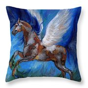 Pinto Pegasus With Blue Mane Throw Pillow