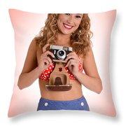 Pinup Photographer Throw Pillow