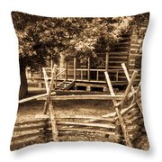 Pioneer Cabin In Sepia 1 Throw Pillow
