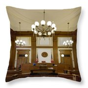 Pioneer Courthouse Courtroom In Portland Oregon Downtown Throw Pillow