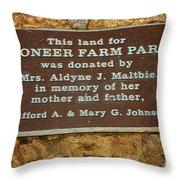 Pioneer Farm Park Plaque At Andersonville Georgia Throw Pillow