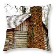 Pioneer Log Cabin Chimney Throw Pillow
