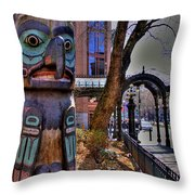 Pioneer Square Totem Pole Throw Pillow