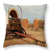 Pionner Wagon Throw Pillow