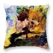 Pipe Smoking Ritual Chillum India Rajasthan 1 Throw Pillow