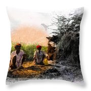 Pipe Smoking Ritual Chillum India Rajasthan 2 Throw Pillow