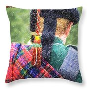 Piper In Red Macpherson Tartan Throw Pillow