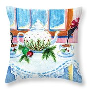 Pipers Sipping Christmas Tea Throw Pillow