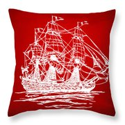 Pirate Ship Artwork - Red Throw Pillow
