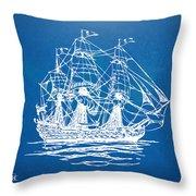Pirate Ship Blueprint Artwork Throw Pillow