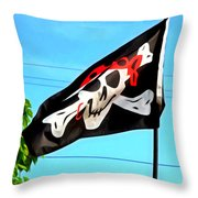 Pirate Ship Flag Of The Skull And Crossbones Throw Pillow