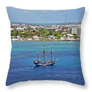 Pirate Ship In Cozumel Throw Pillow