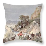 Pirates From The Barbary Coast Capturin Gslaves On The Mediterranean Coast Throw Pillow by Albert Robida