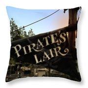 Pirates Lair Signage Frontierland Disneyland Throw Pillow