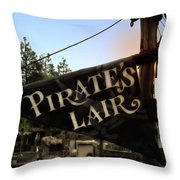 Pirates Lair Signage Frontierland Disneyland Throw Pillow