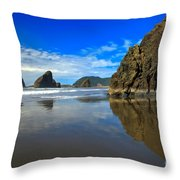 Pistol River Sea Stacks Throw Pillow by Adam Jewell