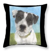 Pitbull Dog Portrait Canine Animal Cathy Peek Throw Pillow