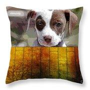 Pitbull Puppy Throw Pillow