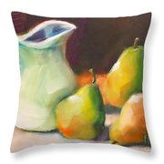 Pitcher And Pears Throw Pillow by Michelle Abrams