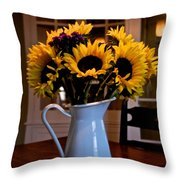 Pitcher Of Sunflowers Throw Pillow