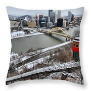 Pittsburgh Duquesne Incline Winter Throw Pillow