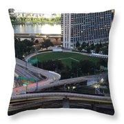 Pittsburgh Aerial Car Trails At Dusk 2 Throw Pillow