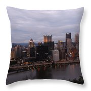 Pittsburgh Aerial Skyline At Dusk Throw Pillow
