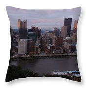 Pittsburgh Aerial Skyline At Sunset 3 Throw Pillow