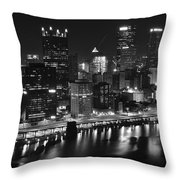 Pittsburgh Black And White Night Throw Pillow