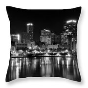 Pittsburgh Black And White Panorama Throw Pillow
