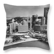 Pittsburgh Black And White Winter Panorama Throw Pillow