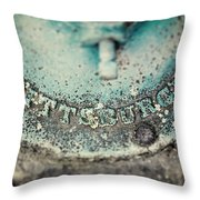 Pittsburgh In Teal Relief On A Vintage Water Pump Throw Pillow