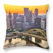 Pittsburgh Incline Sunrise Panorama Throw Pillow
