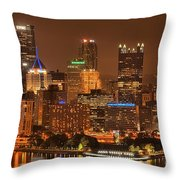 Pittsburgh Lights Under Cloudy Skies Throw Pillow