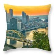Pittsburgh Orange Skyline Throw Pillow
