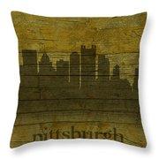Pittsburgh Pennsylvania City Skyline Silhouette Distressed On Worn Peeling Wood Throw Pillow