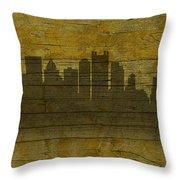 Pittsburgh Pennsylvania City Skyline Silhouette Distressed On Worn Peeling Wood No Name Version Throw Pillow