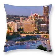 Pittsburgh Pennsylvania Skyline At Dusk Sunset Panorama Throw Pillow by Jon Holiday