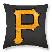 Pittsburgh Pirates Baseball Vintage Logo License Plate Art Throw Pillow