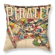 Pittsburgh Pirates Poster Art Throw Pillow