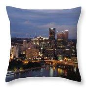 Pittsburgh Skyline At Dusk From Mount Washington Throw Pillow