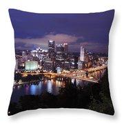 Pittsburgh Skyline At Night From Mount Washington 3 Throw Pillow