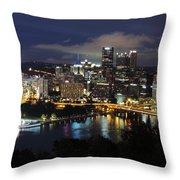 Pittsburgh Skyline At Night From Mount Washington 4 Throw Pillow