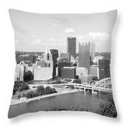 Pittsburgh Skyline From Mount Washington Black And White Throw Pillow