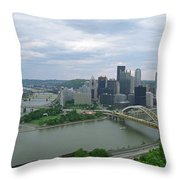 Pittsburgh - View Of The Three Rivers Throw Pillow