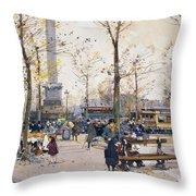 Place De La Bastille Paris Throw Pillow by Eugene Galien-Laloue
