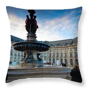 Place De La Bourse Buildings At Dusk Throw Pillow