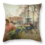 Place Du Theatre Francais Paris Throw Pillow by Eugene Galien-Laloue