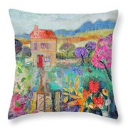 Place In The Country, 2014, Acrylicpaper Collage Throw Pillow