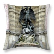 Place Saint Michel Statue And Fountain In Paris France Throw Pillow